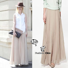 CelebStyle Beige Chiffon Pleated Maxi Skirt  - To The MAX