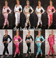 Sexy Redial Womens Satin Hoodie Ladies Tracksuit Jogging Set Size S M 10 colors