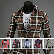 Fashion Mens Luxury Stylish Casual Dress Plaid Slim Fit Shirts Tee Tops