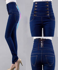 Hot Women's High Waist Skinny Blue breasted Jeans plain coloured Jeans pants