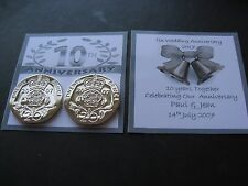 Pair Of 2004 20p Coins For 10th  Wedding Anniversary Card Or Gift  Inc Gift Bag