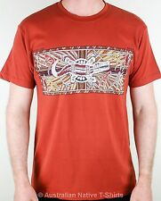 Crocodile Hunt Adults Aboriginal Art T-Shirt (Rust) - S, M, L, XL & XXL NEW!