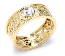 14k Two-Tone Yellow Gold with 3 Diamonds Claddagh Wedding Band with Celtic Knot