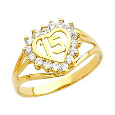 14K Gold Sweet Quinceanera 15 Anos Dainty Ring with 16 Clear Cubic Zirconia
