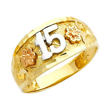 14K Tri-Tone Gold Artisan Rose Flowers Sweet Quinceanera 15-Anos Ring