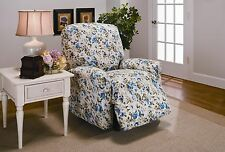 BLUE FLORAL JERSEY RECLINER STRETCH SLIPCOVER, COUCH COVER, RECLINER COVER