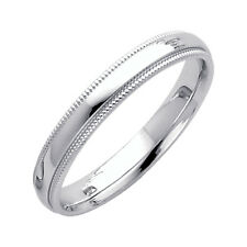 14K Milgrain White Gold Classic Comfort Fit 3MM Wedding Band (Made in USA)