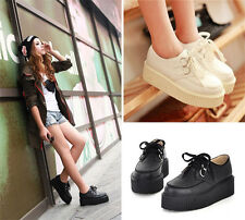 Women High Platform Lace Up Flats Creepers Goth Punk Shoes Retro Black/White ff
