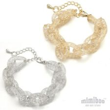 Sparkly Glitter Net Mesh Tube Put Into Clear Color Crystals Link Chain Bracelet