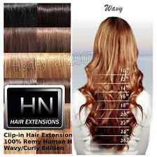 "Any Color Wavy/Curly 18""20""22"" Clip in 100% Remy Human Hair Extensions BODY WAVY"