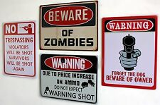 Outdoor WARNING Tin Sign Metal Art Print Funny GAG No Trespassing Beware Zombie