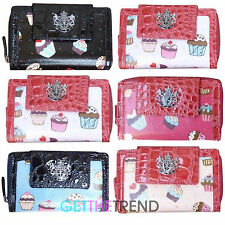 Womens New Cupcakes Flapover Bifold Wallet Ladies Designer LYDC Cupcake Purse