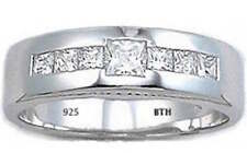 Genuine Sterling Silver +Created Diamonds Mens Wedding Engagement Band Ring