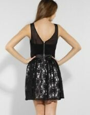LIPSY BLACK LACE EMBROIDERED SKATER PROM DRESS SIZE 12 RRP £55 BNWT