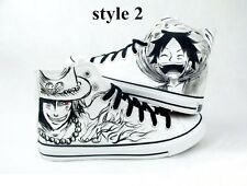 Anime ONE PIECE Luffy Roronoa Zoro Ace handpainted women men boy canvas shoes