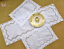 Gorgeous White Hand Embroidered Cutwork Linen Table Runner Placemats Doily A