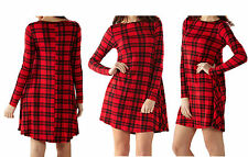 LADIES WOMENS TARTAN CHECK SWING DRESSS TARTAN PRINT SKATER SWING DRESS 8-24