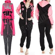 New Womens Ladies Varsity Baseball Fleece Hoodie R-Fox Onesie All In Jumpsuit L