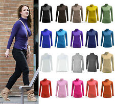 WOMENS LADIES LONG SLEEVE POLO NECK TOP LADIES TURTLE NECK TOP JUMPER SIZES 8-26