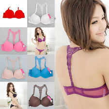 Ladies Sexy Front Closure Lace Racer Back Push Up Seamless Bra extra 2Belt