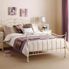 Happy Beds Katrina Bed Stone White Metal Bedroom Furniture Mattress All Sizes