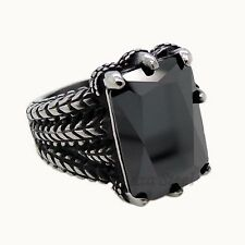 MEN'S Dragon Claw Black CZ 316L Stainless Steel Biker Ring US size 8-15