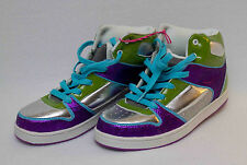 Girls p.s. by aeropostale Sparkly Silver Purple High Top Tennis Shoes New!