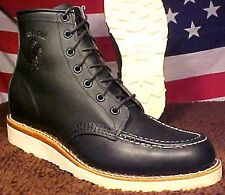 CHIPPEWA MEN VIBRAM WEDGE SOLE MOC TOE BLACK MADE IN USA BOOT 90052