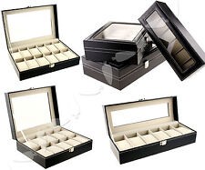 6/10/12 Jewellery Watch Faux Leather Cover Storage Collector Case Display Box