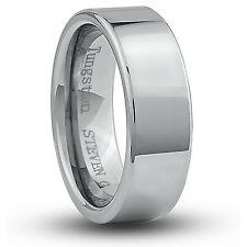 Men's 8mm Wide Tungsten Carbide Band Comfort Fit Ring Flat High Polish - TCR038