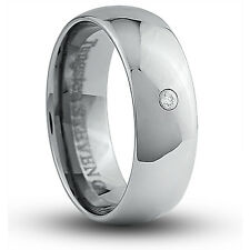 Men's 8mm Wide Tungsten Carbide Band Comfort Fit Ring 2mm Round Cubic - TCR033