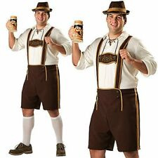 German Beer Men Fancy Costume Bavarian Lederhosen Oktoberfest Plus Size Outift