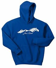 BLUE JUST RIDE HORSE LADIES HOODIE SWEAT SHIRT PONY COW GIRL TACK EQUESTRIAN