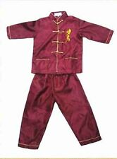 Handsome yellow style Chinese Boy's Kung Fu Shirt Pants Suit size 2-14
