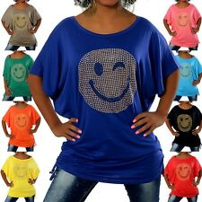 G307 Damen Longshirt Shirt Tunika Bluse Smiley SmilyT-Shirt Tank Top Minikleid