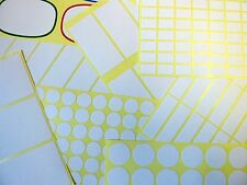 White Paper Stickers, Self-Adhesive Sticky Labels, Various Sizes, Economy Pack