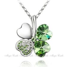 Magic Castle Clover Crytal Pendant St. Patricks Birthday Xmas Gift for Her PA304