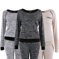 New Womens Speckled Diamante Tracksuit Jogging Sports Look Boat Neck By Redial