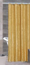 SHERRY LUXURIOUS CRUSHED SATIN FABRIC SHOWER CURTAIN, GOLD BEIGE BURGUNDY BROWN