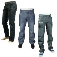 MENS JEANS ENZO EZ141 BLUE CLASSIC FIT STRAIGHT LEG ALL SIZES 30 TO 40