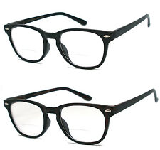 Man Woman Bifocal Visison Spring Temple Reading Glasses - RE19 Assorted Color