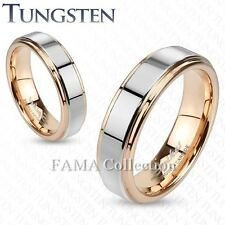FAMA 6mm TUNGSTEN Two Tone Inner Rose Gold IP Band Ring w/ Step Edges Size 5-13