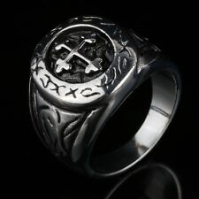 Mens Retro 316L Stainless Steel Silver Class Cross Ring Jewelry US Size 10 11