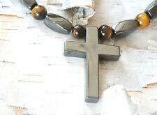 Magnetic Hematite Cross BROWN TIGER EYE Pendant Necklace Healing Quick Ship