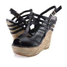 Women's Shoes Qupid Finder 205 Strappy Platform Open Toe Wedges Black *New*