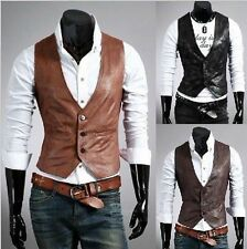 Simple Style Men's New Top Fashion Slim Fit Vests Casual PU Leather Waistcoat