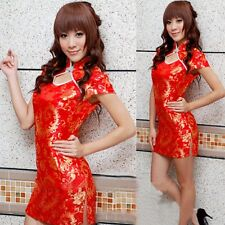 Featured Stand Collar Chinese Women Mini Dress Cheongsam Sexy Evening Cospaly