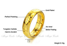 Lord of the Rings LOTR Elvish Tungsten Gold Men's Wedding Band Ring Free w Chain