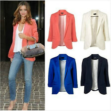Hot sale Womens Fashion Candy Color Seventh Volume Sleeve Jacket Blazer 6 Colors