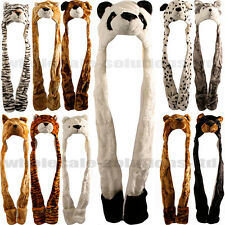 Kids Animal Fleece Hat Scarf Snood Ladies Fleeced Fun Ski Head Gear